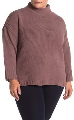 Catherine Malandrino Funnel Neck Chenille Knit Sweater (Plus Size)