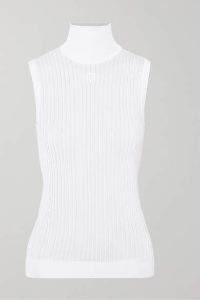 Givenchy Embroidered Ribbed Knitted Turtleneck Top - White
