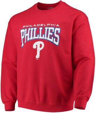 Stitches Men's Red Philadelphia Phillies Pullover Crew Neck Sweatshirt