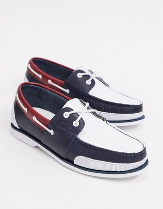 Lacoste nautic boat shoes tricolore leather
