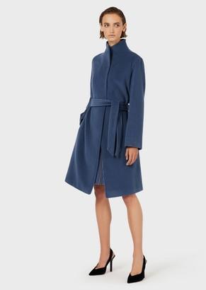 Emporio Armani Angora And Cashmere Blend Velour Coat