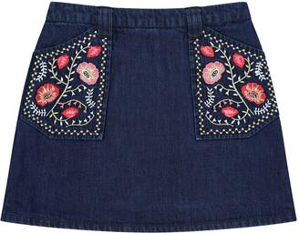 Velveteen Rhea Denim Embroidered A-Line Skirt, Size 8-12