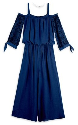 Amy Byer Girls 7-16 Off The Shoulder Lace Sleeve Jumpsuit With Necklace
