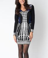 Yuka Paris Black, Ivory & Blue Geometric Gia V-Neck Dress