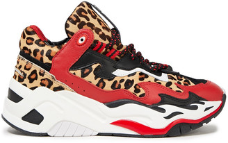 Just Cavalli Monogram-trimmed Leopard-print Calf Hair And Leather Sneakers