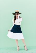 Shabby Apple Manzana A Line Skirt Navy