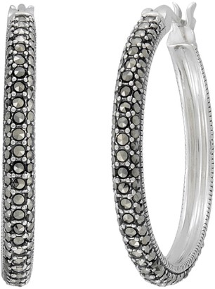 Lavish By Tjm Lavish by TJM Sterling Silver Marcasite Hoop Earrings