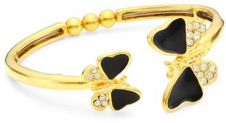 Kenneth Jay Lane 22K Goldplated, Enamel & Crystal Butterfly Bangle Bracelet