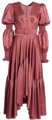 PatBO Leopard Satin Midi Dress