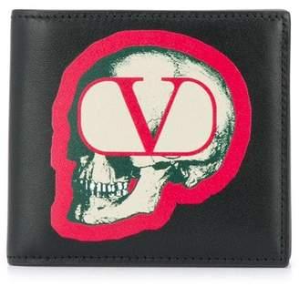 Valentino skull go logo bifold wallet