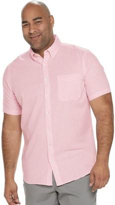 Sonoma Goods For Life Big & Tall Regular-Fit Linen-Blend Textured Button-Down Shirt