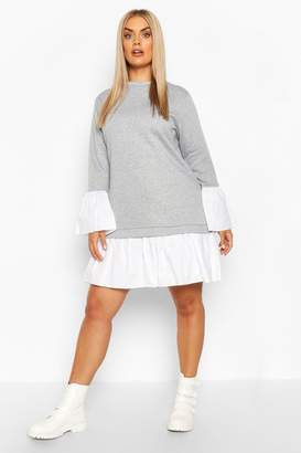 boohoo Plus 2 In 1 Contrast Sweat Smock Dress