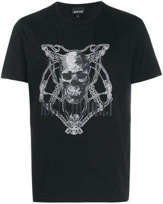 Just Cavalli skull chain print T-shirt