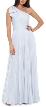Xscape Evenings Petite Metallic Pleated One-Shoulder Gown