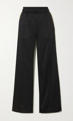 Fendi Rama Jacquard-trimmed Jersey Wide-leg Track Pants - Black