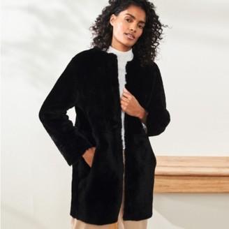 The White Company Merino Sheepskin Cocoon Coat, Black, M/L