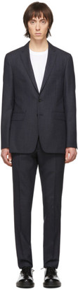 Burberry Navy Wool Pattern Suit