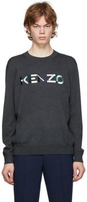 Kenzo Grey Wool Logo Sweater