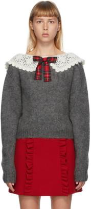 Miu Miu Grey Mohair Tartan Bow Sweater