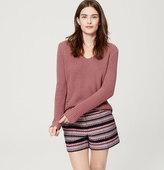 "LOFT Petite Boho Stripe Riviera Shorts with 4"" Inseam"