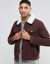 Asos Cord Western Jacket With Fleece Collar In Burgundy