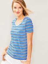 Talbots Short-Sleeve V-Neck-Water Stripes-The Tee