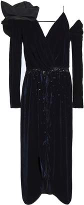 Johanna Ortiz Bow-embellished Embroidered Velvet Midi Dress
