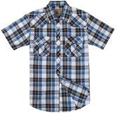 Coevals Club Men's Casual Plaid Snap Front Short Sleeve Shirt (White / blue , L)