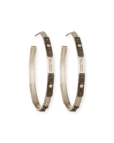 Armenta New World Two-Tone Hoop Earrings with Champagne Diamonds