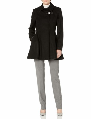 Calvin Klein Women's Asymmetrical Jacket W/Zip Closure and Zipper Pocket Wool & Waist Detail