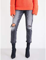 Tortoise Denim Dory distressed high-rise tapered jeans