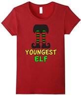 Women's Family Christmas Shirts Youngest Elf Family Matching Set Large