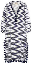 Figue Paolina Tasseled Striped Cotton-gauze Kaftan - Navy