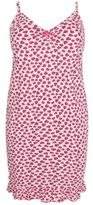 Yours Clothing Yoursclothing Plus Size Womens Heart Print Chemise Ruffle Hem Adjustable Strap