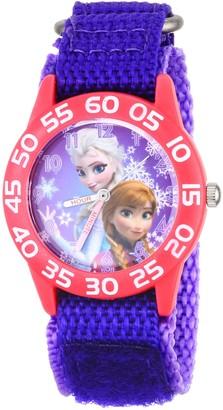 Disney Kids' W001789 Frozen Elsa and Anna Watch Purple Nylon Band