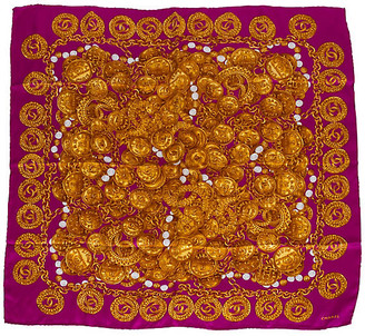 One Kings Lane Vintage Chanel Vibrant Rue Cambon Silk Scarf - Vintage Lux - purple/gold