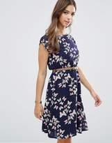 Yumi Cap Sleeve Belted Dress In Butterfly Print