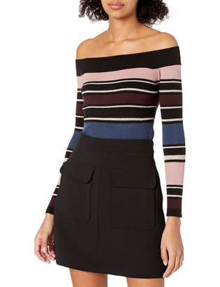 Cupcakes And Cashmere Women's nadria Off The Shoulder Metallic Stripe Sweater