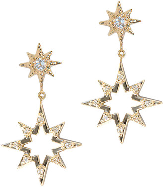 Anzie Aztec 14K Diamond & White Topaz Earrings