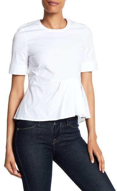 Veronica Beard Short Sleeve Peplum Top