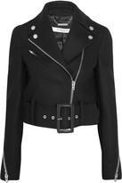 Givenchy Cropped Biker Jacket In Black Wool-blend Felt - FR34
