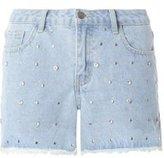 Dorothy Perkins Womens Light Wash Denim Gem Shorts- Blue