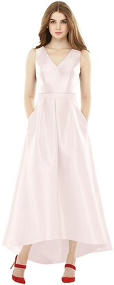Alfred Sung Sleeveless Pleated Skirt High Low Dress with Pockets