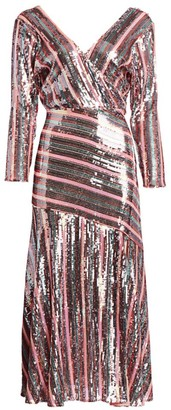 Rixo Tyra Sequin Stripe Dress