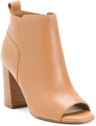 Comfort Peep Toe Stacked Heel Leather Booties