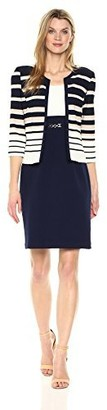 Sandra Darren Women's 2 Pc 3/4 Sleeve Striped Knit Sheath Jacket Dress with Belt