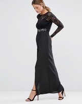 Elise Ryan Embellished Lace Maxi Dress With Thigh Split
