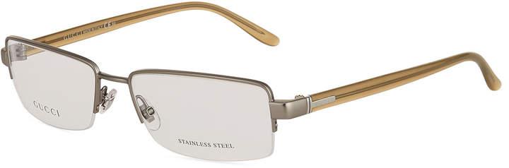 Gucci Rectangular Steel Semi-Rimless Optical Glasses