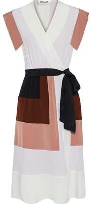 Diane von Furstenberg Ingrid Color-block Silk Crepe De Chine Wrap Dress