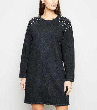 New Look Faux Pearl Sweatshirt Dress